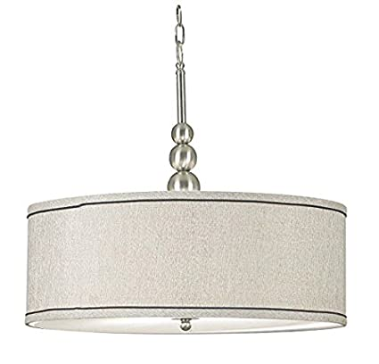 Kenroy home 91640bs margot 3 light pendant with fabric shade brushed steel