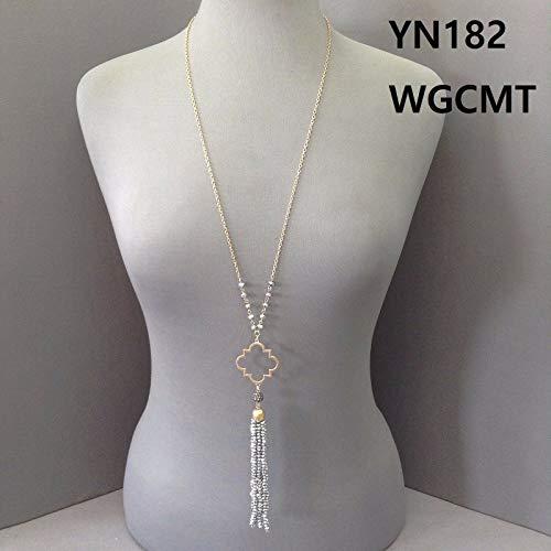 Gold Finished Open Clover Quatrefoil Shape Silver Bead Tassel Pendant - Quatrefoil Beads