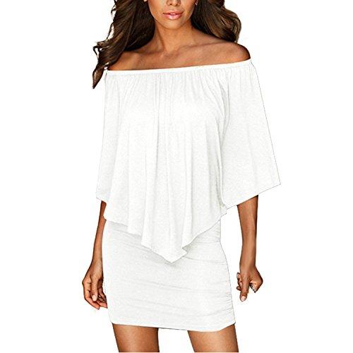 Tunique Sans Femme Bandeau Moulante Fille Mini Nues paules Robe Manches LAEMILIA Robes Blanc Bustier Sexy 7gnCS8xW