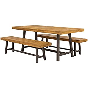 Best Choice Products 3 Piece Acacia Wood Picnic Style Outdoor Dining Table Furniture