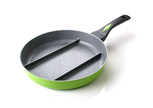 11' Non Stick Skillet (Triple Divided Share Frying Pan Aluminum Magic Stone Coating Skillet Non-Stick)