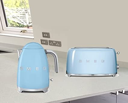 New SMEG Retro Pastel Blue Kettle /& 2 Slice Toaster KLF03PBUK /& TSF01PBUK
