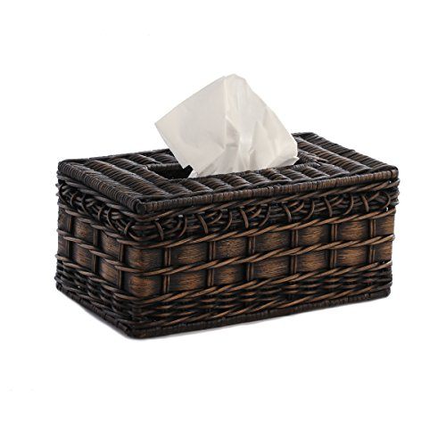 The Basket Lady Wicker Large Tissue Box Cover One Size (size 0) Antique Walnut Brown ()