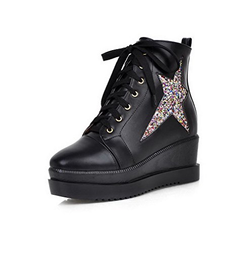 AllhqFashion Womens PU Low-top Solid Lace-up Kitten-Heels Boots Black lSp0O