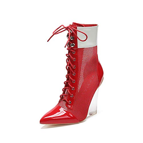 (MACKIN J 312-1 Multi- Color Lucite Lace Up Wedge Bootie (10, Red))