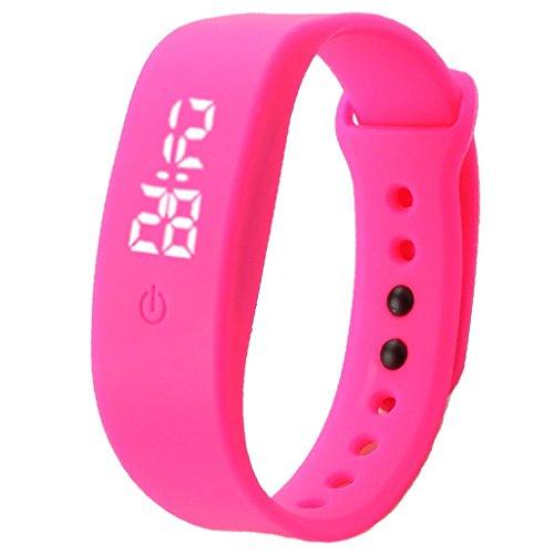 Binmer(TM)Womens Mens Rubber LED Watch Date Sports Bracelet Digital Wrist Watch (Hot Pink)