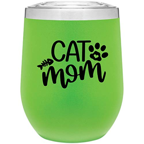 12 oz Vacuum Insulated Cat Mom Mug or Wine Tumbler with Lid by MugHeads (Matte Lime)