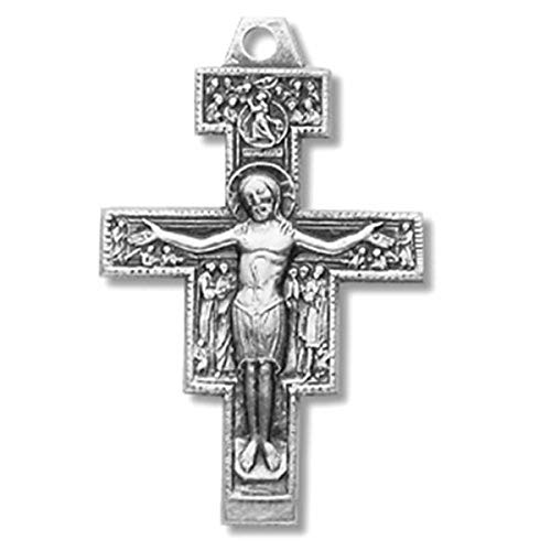 Religious Gifts Sterling Silver San Damiano Crucifix Cross Pendant, 1 ()