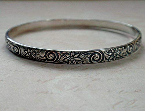 Sterling Silver Floral Pattern Bangle Oxidized Swirls and Flowers ()