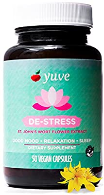 Yuve Vegan Anxiety Relief Vitamin Supplement - Mood Enhancer & Mental Health Support - 300 mg All Natural & Pure St. John's Wort Extract - Promotes Well Being - Non-GMO, Gluten-Free - 50 Veggie Caps