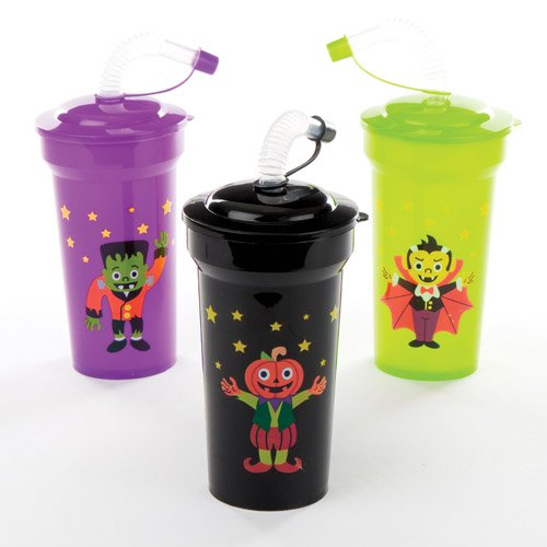 Halloween Bendy Straw Cups for Kids Fun-Packed Halloween Toys at Pocket Money Prices - Perfect Party Bag Fillers for Children (Pack of 4)