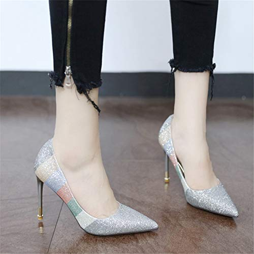European banquet sequins wedding work shoes color shoes YMFIE shoes sexy high stiletto heels pointed single matching 39 fashion EU FtRqWdw