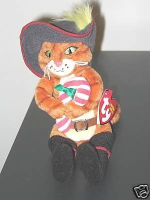 TY Beanie Baby - PUSS IN BOOTS the Cat (DVD Exclusive - Holding Candy Cane)