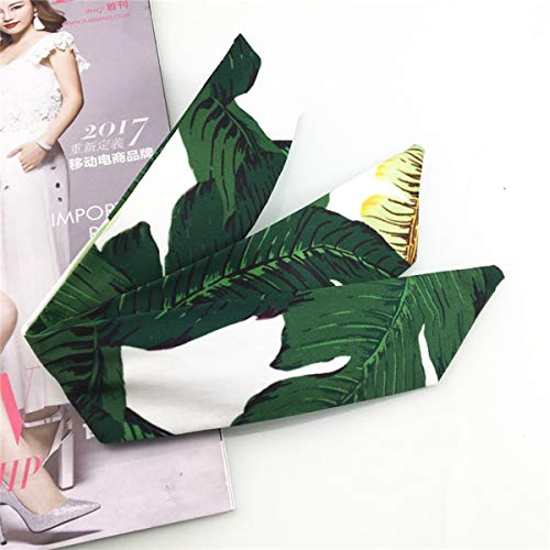 Ladies Floral Twist Knot Pattern Knotted Headband Elastic Head Wrap Turban Hair Band Fower Scarf Color : Banana Leaves