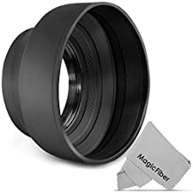 58MM Altura Photo Collapsible Rubber Lens Hood for for CANON Rebel T5i T4i T3i T3 T2i T1i XT XTi XSi SL1, CANON EOS 700D 650D 600D 550D 500D 450D 400D 350D 300D 1100D 100D 60D + MagicFiber Microfiber Lens Cleaning Cloth