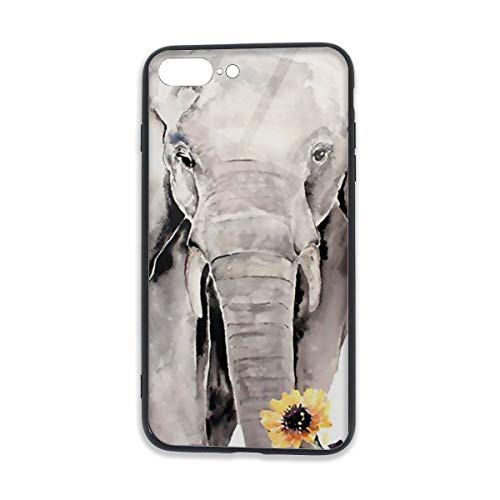 Cellphone Protector Cover with TPU Bumper and Tempered Crystal Clear Glass Back for iPhone 7/8 Plus Printed Designs Durable and Lightweight Elephant Sunflower]()