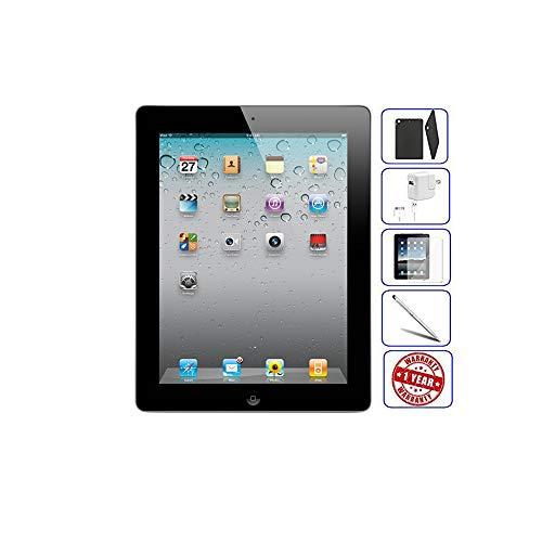 (Apple iPad 2 Tablet 16GB, 32GB, 64GB - Wifi, Black 2nd Generation | Bundle Includes: Case, Tempered Glass, Stylus Pen, 1 Year Warranty (16GB, Black) (Renewed))