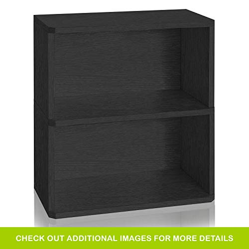Way Basics Eco Friendly Webster 2-Shelf Bookcase and Storage Shelf, Black (made from sustainable non toxic zBoard paperboard) (Black Bookcase 2 Shelf)
