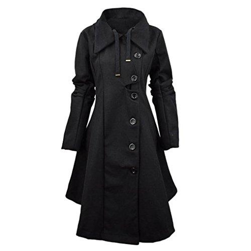 Elevin(TM)Women Fashion Windbreaker Button Closure Asymmetrical Hem Cloak Parkas Coat (M, Black)