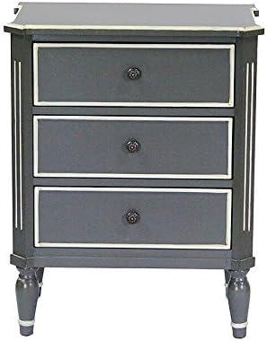 Heather Ann Creations Bombay Series Premium Wood Small 3 Drawer Classic Bedroom Storage Dresser, Gray/White Trim