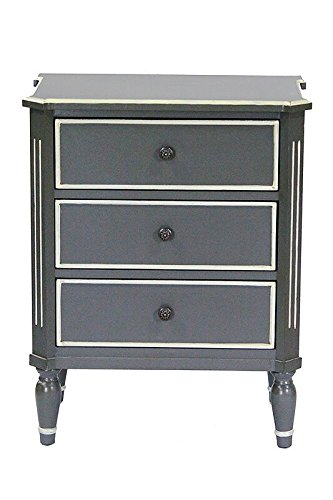 Heather Ann Creations Bombay Series Premium Wood Small 3 Drawer Classic Bedroom Storage Dresser, Gray/White Trim