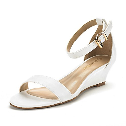 DREAM PAIRS Women's Ingrid White PU-2 Ankle Strap Low Wedge Sandals Size 10 M US (White 10 Sandals Size Womens)