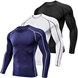 Lavento Men's Compression Shirts Long-Sleeve Dri Fit Workout Undershirts (Medium,3 Pack-1059 Black/White/Navy Blue)