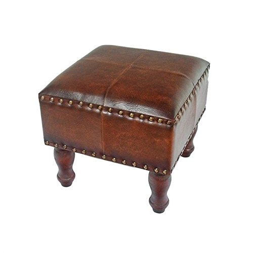 International Caravan YWLF-2529-BR-IC Furniture Piece Faux Leather 16-inch Square Stool
