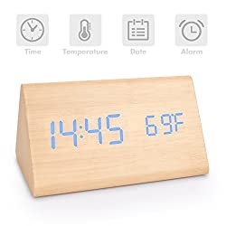Digital Alarm Clock,Wooden Alarm Clock Voice Control Desk Clock Large Display Time Temperature USB/Battery Powered For Home