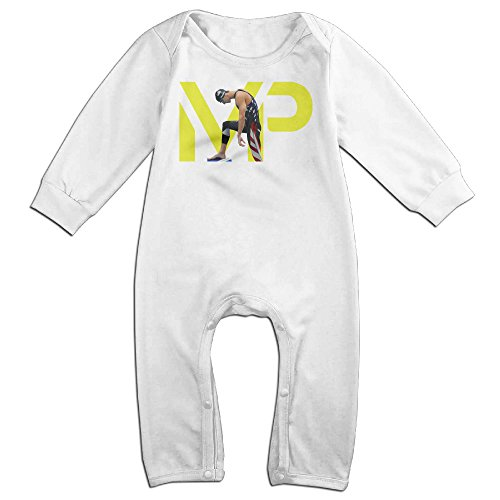 [KIDDOS Baby Infant Romper Michael Phelps Long Sleeve Jumpsuit Costume,White 6 M] (Lil Teddy Bear Costume)