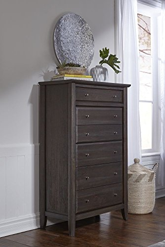 Modus Furniture 1X5784 City II Six-Drawer Chest, Basalt Gray