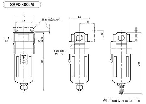 pneumaticplus sau4050 m-n04dg-mep Tres Fase sistema de secado de aire Mist Filtro Quitar 0,3 Micron, coalescing - Filtro de aceite de - 0,01 Micron & Air ...