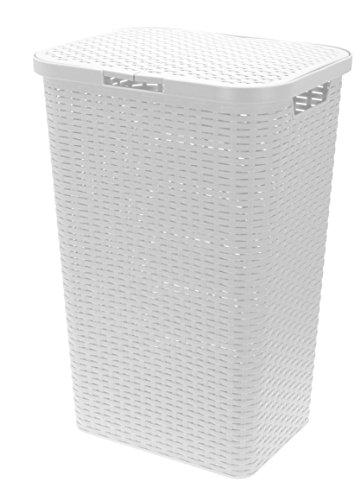 Wäschebox in Flechtoptik 65 Liter - weiß - Wäschetruhe Wäschekorb