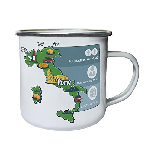 New Infography Italy Tourism Retro,Tin, Enamel 10oz Mug m457e by INNOGLEN