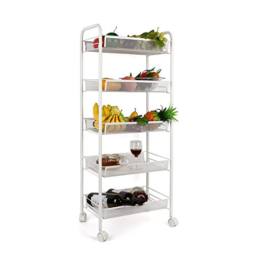 Captivating HOMFA 5 Tier Mesh Wire Rolling Cart Multifunction Utility Cart Kitchen  Storage Cart On Wheels, Steel Wire Basket Shelving Trolley,Easy Moving,White