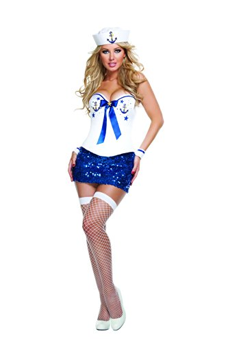 Starline Women's Sexy Signature Sailor Corset Costume Set with Hat, White/Blue, Medium (Sequin Sailor Costume Hat)