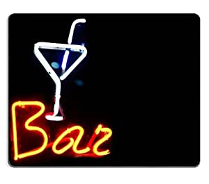 Neon Bar Martini Glasses Sign Mouse Pads Customized Made to Order Support Ready 9 7/8 Inch (250mm) X 7 7/8 Inch (200mm) X 1/16 Inch (2mm) High Quality Eco Friendly Cloth with Neoprene Rubber MSD Mouse Pad Desktop Mousepad Laptop Mousepads Comfortable Computer Mouse Mat Cute Gaming Mouse_pad