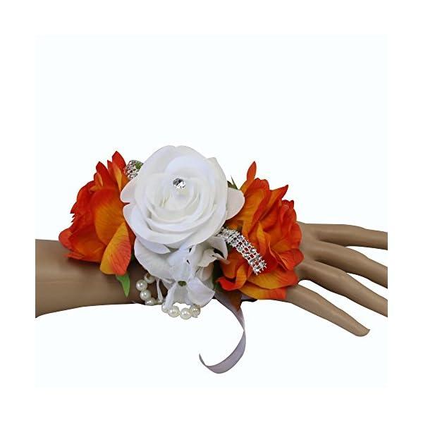 Angel Isabella Wrist Corsage-3 Rose arrangement with Hydrangea keepsake artificial flower prom dance graduation events (Orange White)