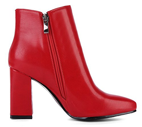 Ankle Booties High Red Bridal Women's Chunky Heel Up Zip Aisun Zipper Pointed Toe Dressy With Boots Beaded Inside qAxSwO