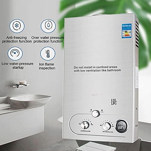 Tevedin 3.2GPM Tankless Water Heater Propane 12L/3.2Gallon 24 KW LPG Propane Gas Hot Water Heater Instant Boiler for Bathroom Shower Outdoor
