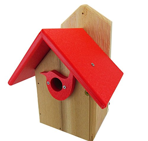 Nature's Way Bird Products Post Mount Cedar Wren House w/Red Poly Roof & Birdhouse Predator Guard Portal Cedar Roof Birdhouse