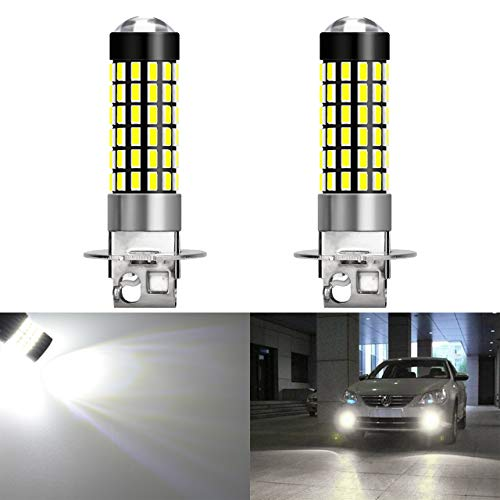 KaTur 2pcs H3 Driving Daytime Running Lights 900 Lumens H3 Base Super Bright 3014 78SMD Lens LED Bulbs Car Xenon White 6000K DC 12V-24V