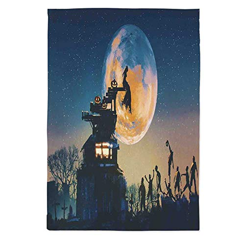 Fantasy World Custom Tablecloth,Dead Queen in Castle Zombies in Cemetery Love Affair Bridal Halloween Theme for Home & Office & Restaurant Table Tea Table,30.3''W X 40.2''L -