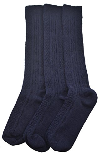 Sierra Socks Women's Girl's Acrylic Cable Knit Knee High 3 Pair Pack (Small (Shoe Size 9-2 1/2, Socks Size 7-8 1/2), Navy) - Cable Knit Knee High Socks
