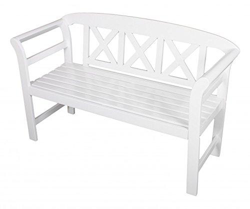 Gartenbank 2-Sitzer, Eukalyptus FSC-Holz weiß lackiert