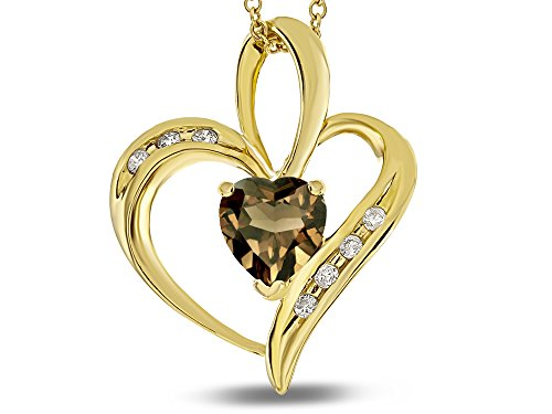 (Star K Heart Shape 6mm Smoky Quartz Pendant Necklace 10 kt Yellow Gold)