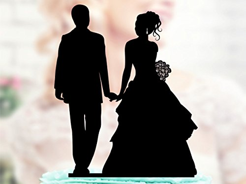 (Wedding Cake Topper Silhouette Couple Acrylic Cake Topper Bride and Groom)