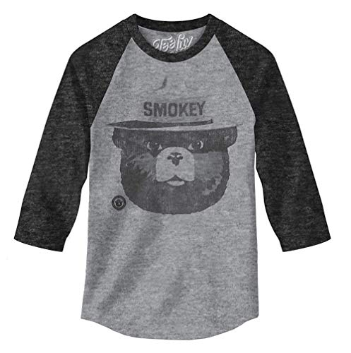 Tee Luv Smokey The Bear Raglan Jersey - Smokey Bear 3/4 Sleeve Shirt (XX-Large)