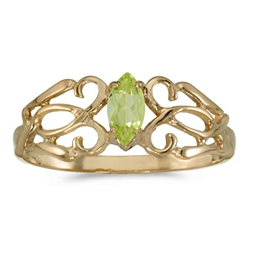 10k Yellow Gold Marquise Peridot Filagree Ring (Size 5)