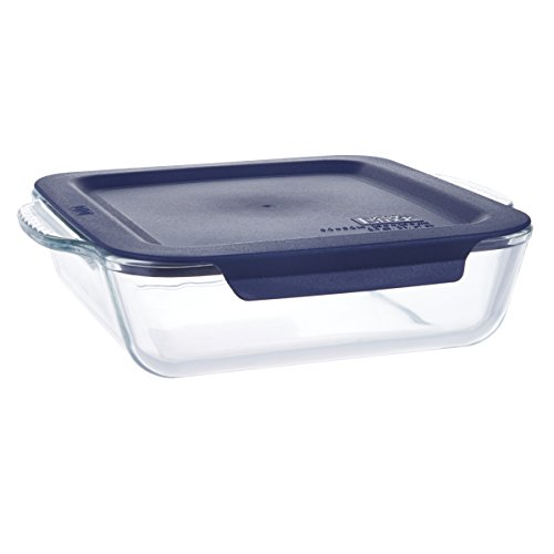 1.8 Qt Square Glass Bakeware Dishes, Baking Tray with Blue Lids - 10.3 x 9.4 x 2.7 inches